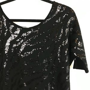 Charming Charlie Womens Sequin Blouse Top Black